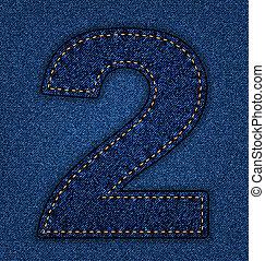 Jeans alphabet number 2 - Denim number 2. Jeans alphabet....