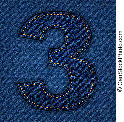 Jeans alphabet number 3 - Denim number 3. Jeans alphabet. ...