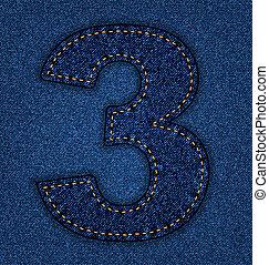 Jeans alphabet number 3 - Denim number 3. Jeans alphabet....
