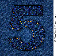 Jeans alphabet number 5 - Denim number 5. Jeans alphabet. ...