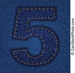 Jeans alphabet number 5 - Denim number 5. Jeans alphabet....