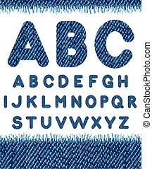 Jeans alphabet. Vector letters set.