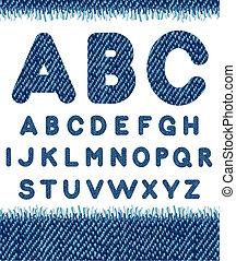 Jeans alphabet. Vector letters set.