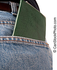 Jeans back pocket with cheque book