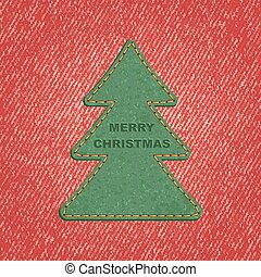 Jeans background leather Christmas tree. Vector