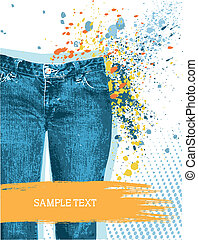 Denim background for design with grunge elements for text on white