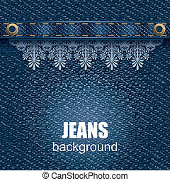 Jeans background with leather label. Detailed vector...