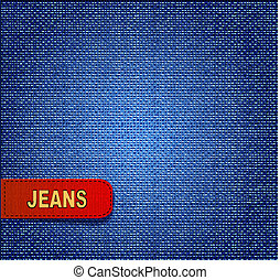 jeans background with red label - vector background with red...