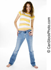 Jeans - Beautiful Seventeen year old girl in jeans and...