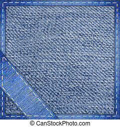 jeans, blåttbakgrund, med, den, sydd, hörna