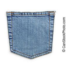 jeans, blaues, tasche