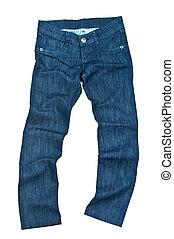 jeans, broek, vrijstaand, op wit