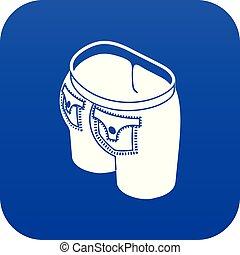 Jeans button icon blue vector
