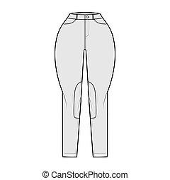 Jeans Classic Jodhpurs Denim pants technical fashion illustration with normal waist, high rise, pockets, belt loops. Flat bottom apparel template front grey color style. Women, men, unisex CAD mockup