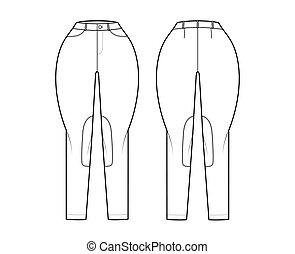 Jeans Classic Jodhpurs Denim pants technical fashion illustration with normal waist, high rise, pockets, belt loops, full lengths. Flat template front back, white color. Women, men, unisex CAD mockup