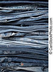 jeans, closeup, stapel, broek
