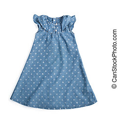 jeans cotton blue dress in polka dot print for girl isolated on white