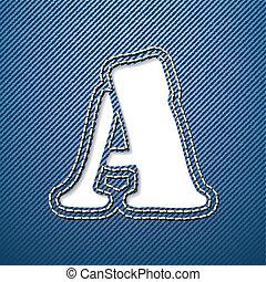 jeans denim, lettera