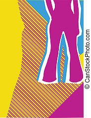 jeans., fondo, disegno, retro