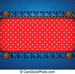 Jeans frame with polka dot patch - Jeans frame with red...