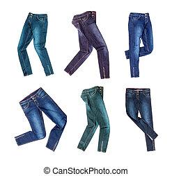 jeans, freigestellt, weiß, hintergrund