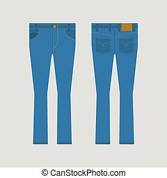 Jeans Front And Back View Vector.