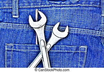 jeans, gereedschap, blauwe
