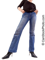 Jeans girl - Front view of young girl in jeans, shot from...