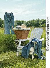 Jeans hanging on clothesline