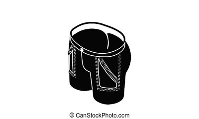Jeans icon animation isometric black object on white background