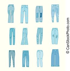 Jeans icons set with funny design.