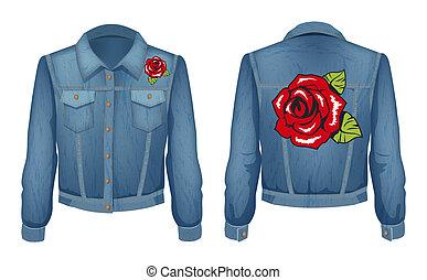 jeans, illustrazione, pezza, giacca, rose, vettore