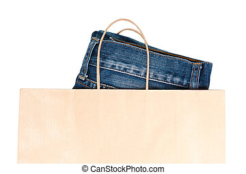Jeans In Brown Paper Carrier Bag - Pair of new jeans peeking...