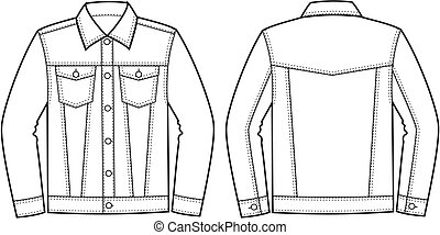 Vector illustration of jeans jacket. Front and back views