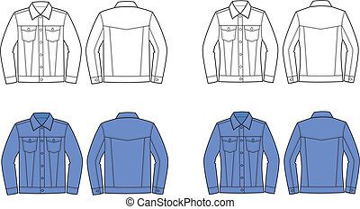 Jeans jacket - Vector illustration of men's and women's ...