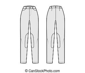 Jeans Kentucky Jodhpurs Denim pants technical fashion illustration with normal waist, high rise, pockets, belt loops. Flat bottom apparel template front back grey color. Women, men, unisex CAD mockup