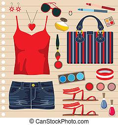 jeans, kjol, mode, sätta