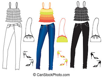 jeans, kleidung, auf, white.vector