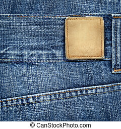 Jeans label - Blue jeans with blank leather label