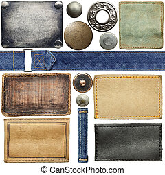 Jeans labels - Blank leather jeans labels, buttons, rivets.