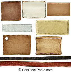 Jeans labels - Blank leather, textile jeans labels, straps...