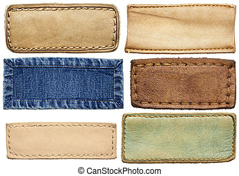 Jeans labels - Blank leather jeans labels, isolated.