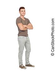 jeans, män, naturlig, ung