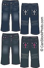jeans, meisje, ontwerp, denim