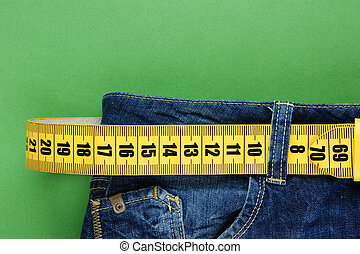 jeans, mit, meter, gürtel, abnehmen, auf, der, grüner...