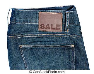 jeans, mit, verkauf zeichen