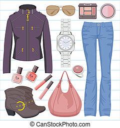 jeans, mode, jas, set