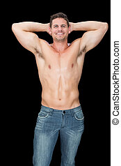jeans, muscular, posar, feliz, hombre