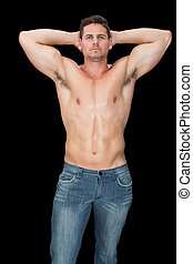 jeans, muscular, posar, guapo, hombre