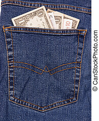 Jeans of international traveller with dollar and euro